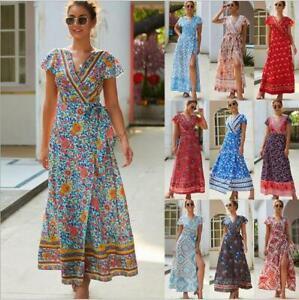 Women-039-s-Cocktail-Sundress-Boho-Dress-Floral-Summer-Party-Long-Beach-Evening-Maxi