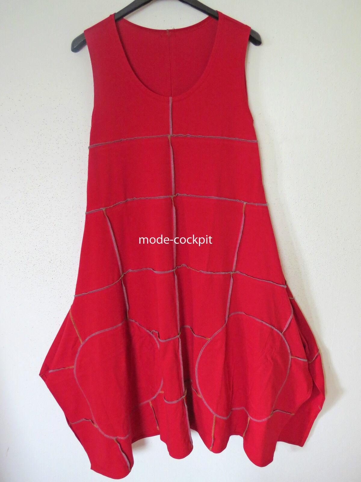 BORIS INDUSTRIES cooles Zipfel Träger Kleid Lagenlook Ziernähte red 48 (5)