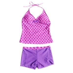 2014eaf674ca9 Image is loading Girls-Kids-Polka-Dots-Tankini-Swimwear-Swimsuit-Swimming-
