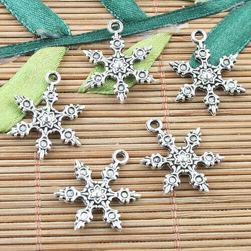 Tibetan Silver color 2sided snowflake design charms 50pcs EF0036