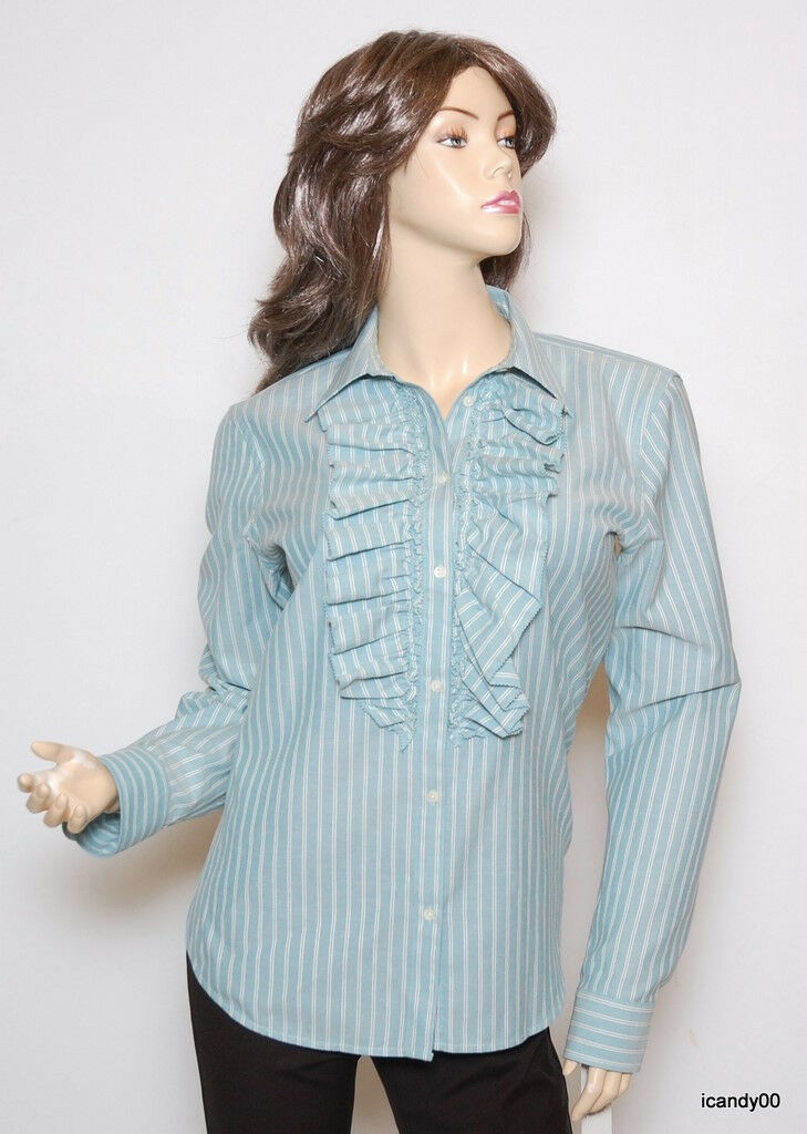 Nwt  Ralph Lauren Ruffle Cotton Shirt Blouse Top bluee Cream XL