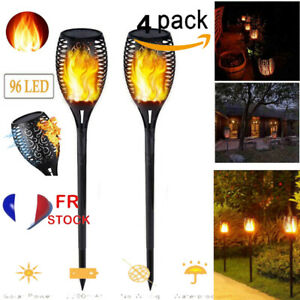 96LED-Solaire-Powered-Torche-Flamme-Flickering-Vacillant-Lampe-Lumiere-Jardin