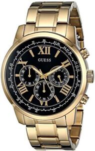 New-Guess-Men-U0379G4-Chronograph-Black-Dial-Stainless-Gold-IP-Band-Watch