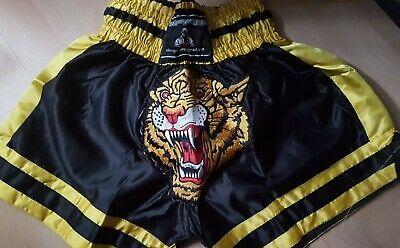 Muay Thai Shorts Nak Muay Thai Boxing MMA Plain Black