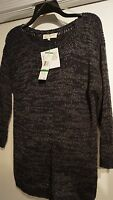 Jones York Sport $79 Lg Navy Blue Ribbon Knit Cotton Sweater