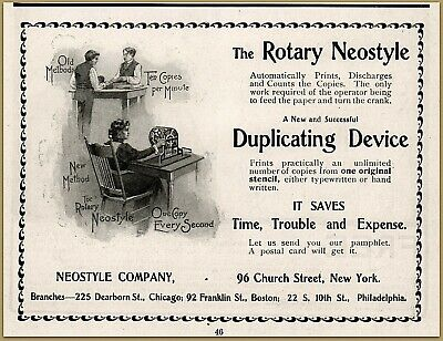"Merchandise & Memorabilia Advertising-print 1900 C Rotary Neostyle Duplicating Device Office ""one Copy Every Second"" Ad Bright In Colour"
