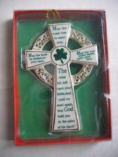 "4 3/4"" inch Kurt Adler Porcelain Irish Blessing Cross Christmas Ornament, NIB"