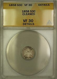 1858-3c-Silver-Three-Cents-Coin-Condition-Is-At-ANACS-VF-30-Details-Cleaned-PM