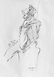 Details About Harry Carmean Life Drawing Of Female Model 1974 Lala Lezli German Expressionism