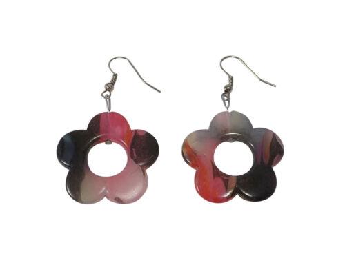 Aretes 1 pares-inkgrafix ® Flor Negra Flower-arete durchzieher