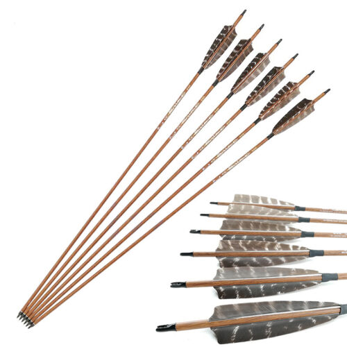 6pcs Wooden Carbon Arrows Sp400 500 600 ID 6.2mm Camo Vanes Bow Hunting Archery
