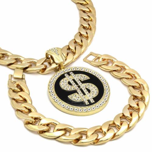 "Mens 14k Gold Plated  XL Black  Dollar Pendant  30/"" Cuban Chain and Bracelet"