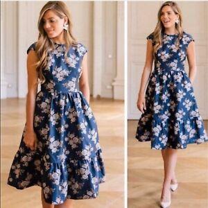 Gal-Meets-Glam-Jenny-Rose-Fit-amp-Flare-Floral-Blue-Dress-Size-6