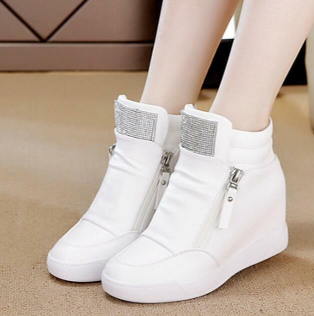 Women Hidden Heels High Top Sneakers Casual Athletic Boot Pull On Creepers shoes
