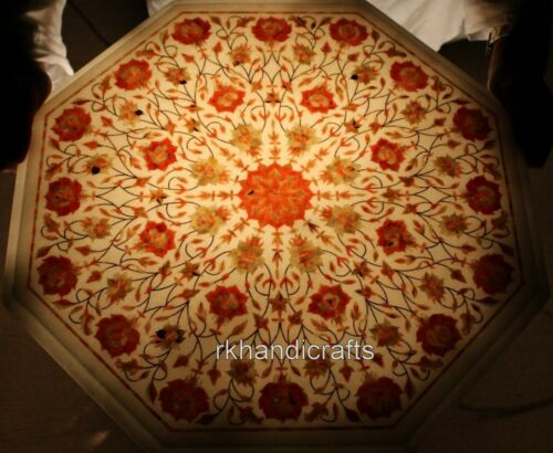 21 Inches Marble Coffee Table Top Inlay patio Table top with Carnelian Stone Art