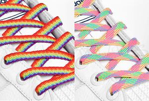 FLAT-RAINBOW-SHOE-LACES-SHOELACES-8mm-wide-11-LENGTHS-VERY-HIGH-QUALITY