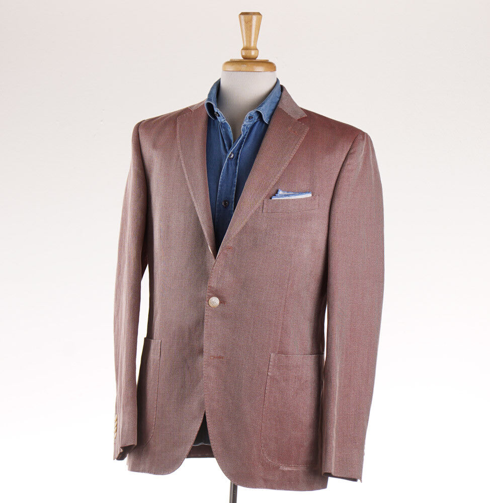 NWT  BOGLIOLI 'Hampton' Red Woven Linen-Cotton-Silk Sport Coat Slim 42 R