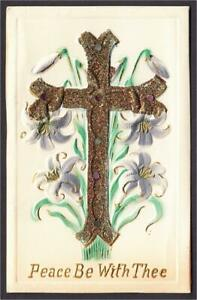 Easter-Postcard-Heavy-Embossed-Cross-and-Lily-with-Applied-Gold-Glitter-1900s