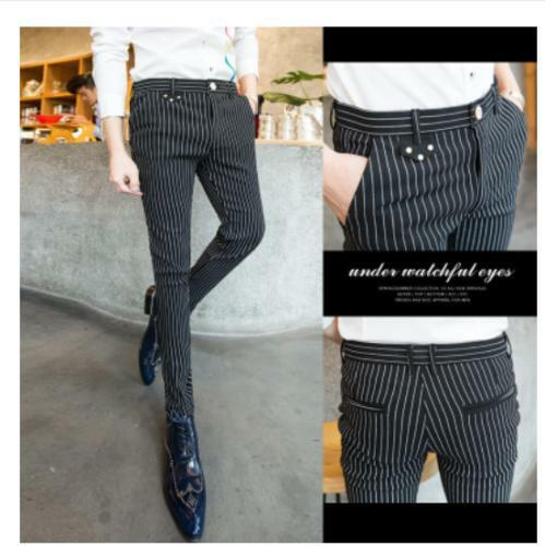 Hot Stylish slim men/'s pants checks striped pencil trousers hairstylist casual S