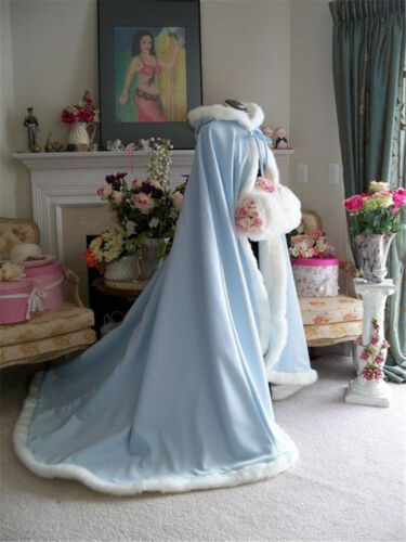 Winter Long Bridal Wedding Dress Hooded Cloak Cape Faux Fur Bridal Mantles Wraps