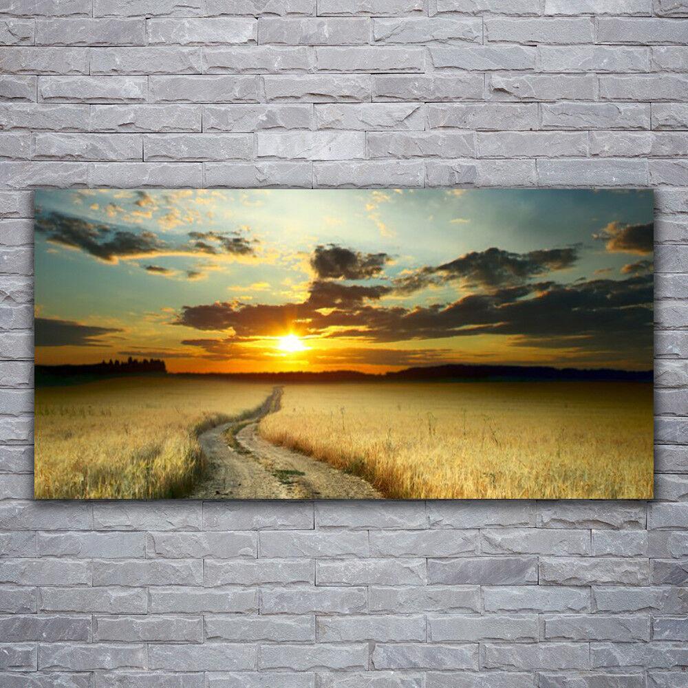 Photo sur toile Tableau Image Impression 120x60 Paysage Chemin Prairie