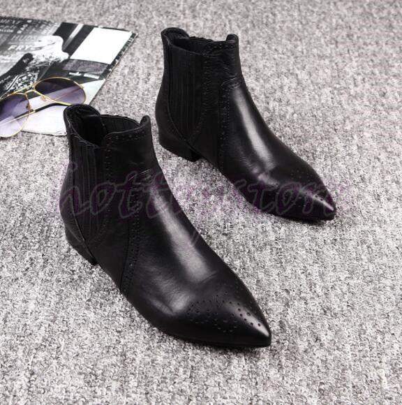 Damen Schuhe Stiefel Stiefeletten Schwarz Spitz Chelsea Stiefel Party Reiterstiefel