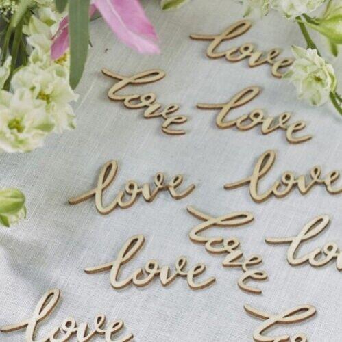 Rústico De Madera Mesa De Boda Confeti Manualidades Palabra Amor Decoración Scrapbook 50