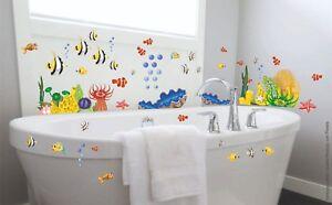Details zu Bad Deko Wandtattoo XXL Set Unterwasserwelt Fische Badezimmer WC  Fliesen Dusche