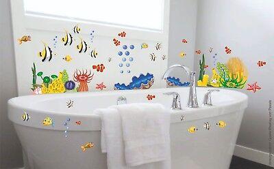 Bad Deko Wandtattoo Xxl Set Unterwasserwelt Fische Badezimmer Wc Fliesen Dusche Ebay