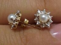 14kt Yellow Gold 5mm Push Back Genuine Birthstone Earring June Cultured Pearl