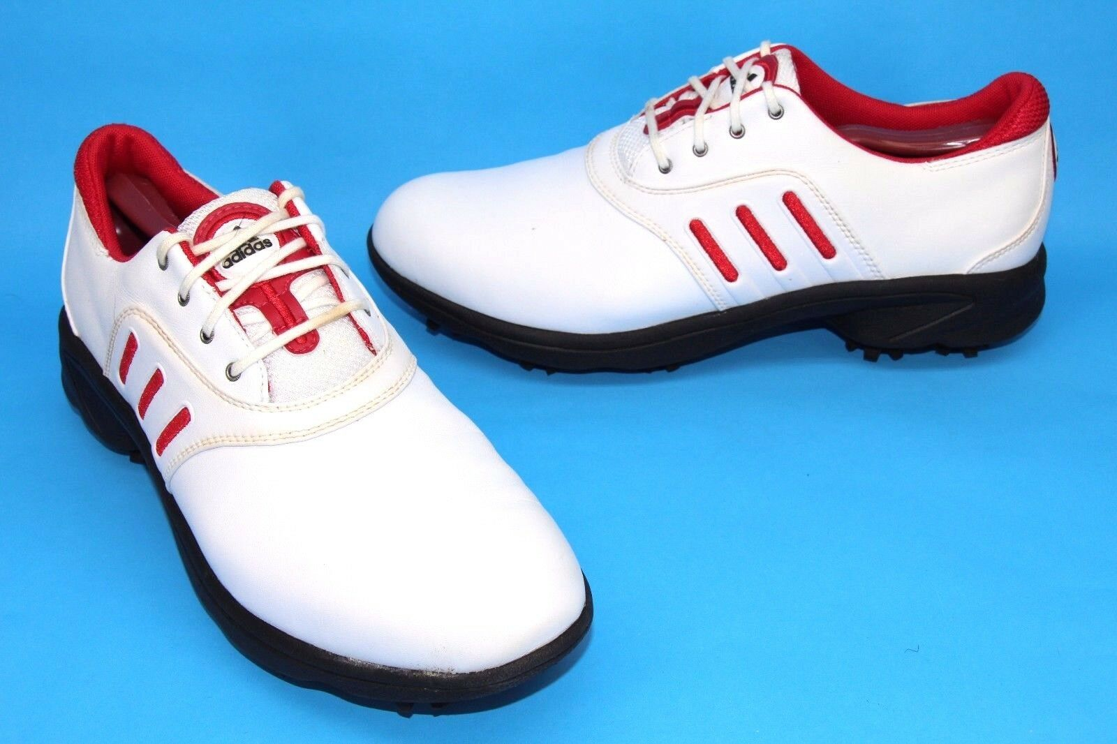 Femme Adidas ComfortStripe White & amp;Chaussures de golf à crampons rouges taille 9,5 Style103453