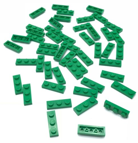 Lego 50 New Green Plates 1 x 3 Dot Pieces