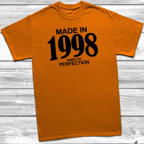 Made In 1998 Aged To Perfection T-Shirt Mens Womens Funny 21st Birthday Gift