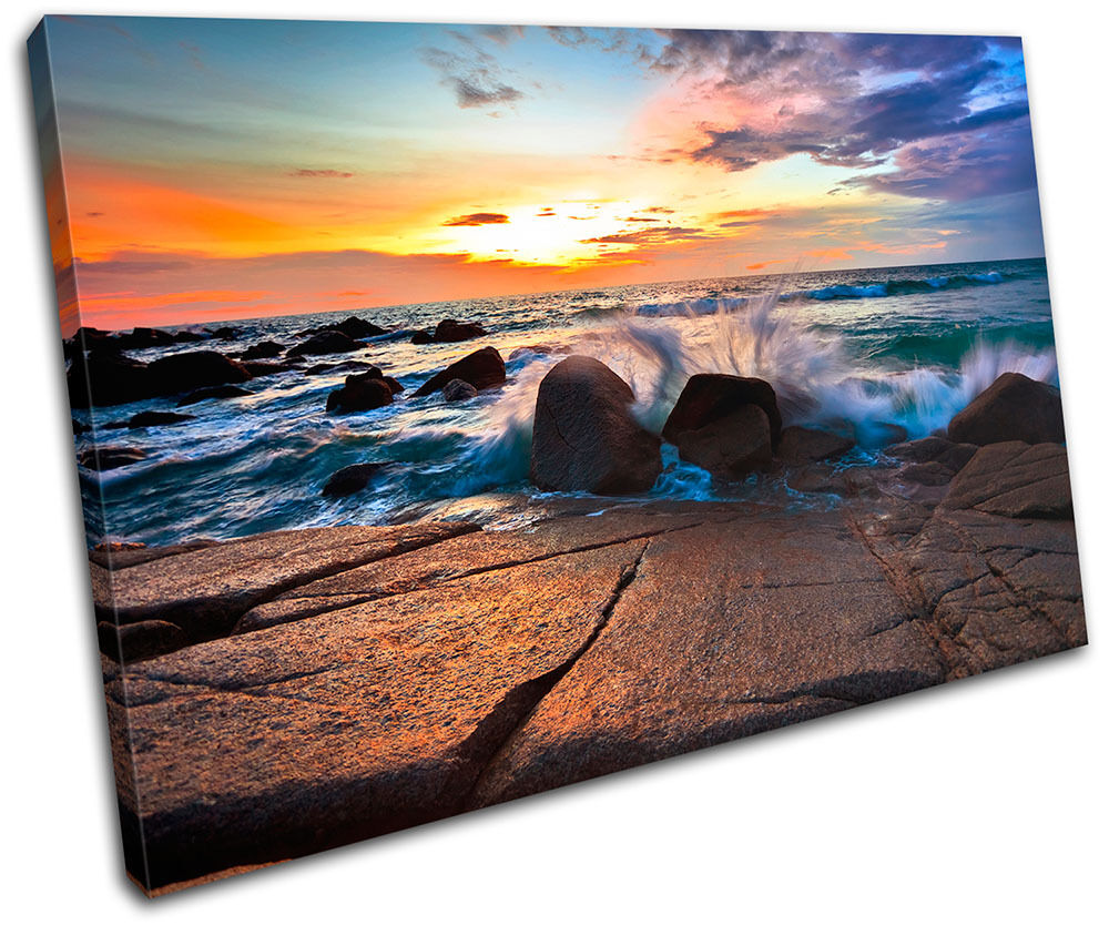 Seascape Beach Waves Bathroom Sunset Tranquility Canvas Art Picture Print Photo