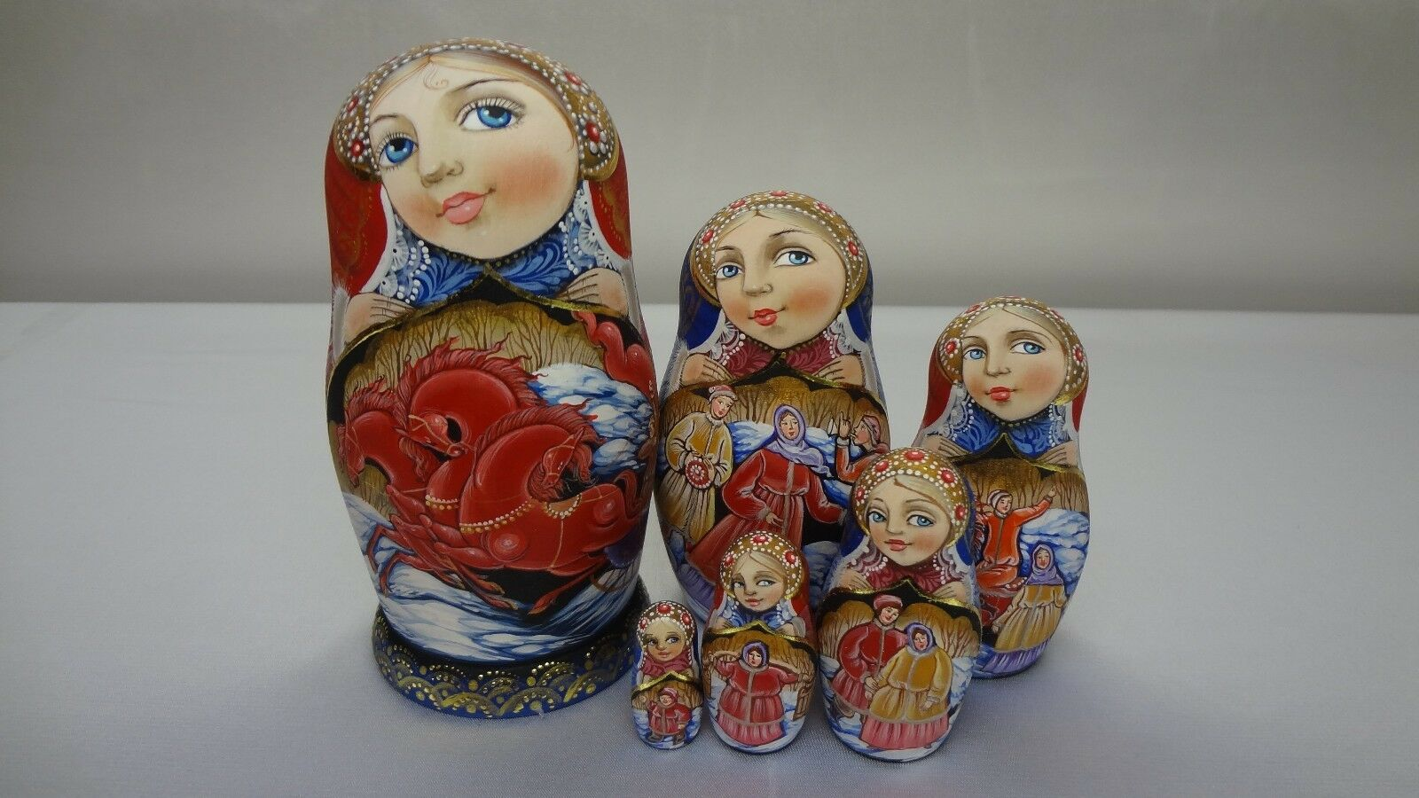 Author's russian matryoshka  Three horses .