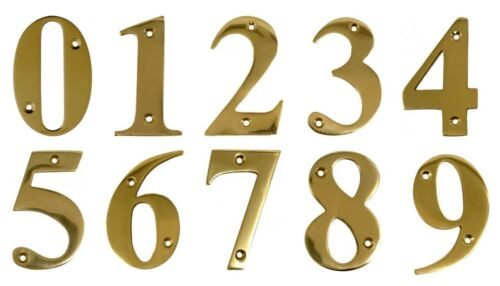 Door Numbers Brass Door Numerals In Polished Brass  sc 1 st  eBay & Door Numbers Brass Door Numerals In Polished Brass 1 2 3 4 5 6 ...