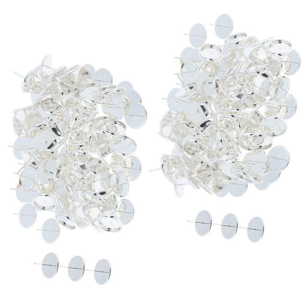 200 Pieces Silver Blank Stud Earring Cabochon Setting Base Post Findings