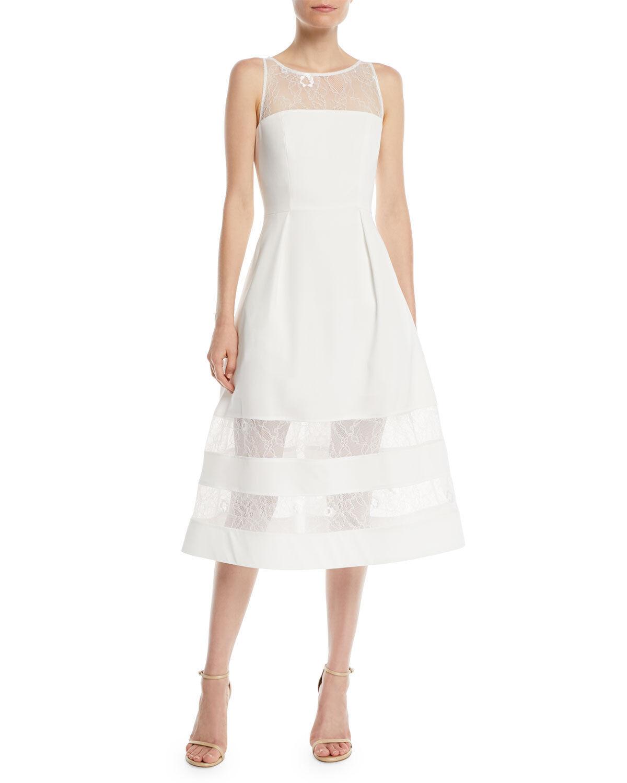 420 AIDAN MATTOX Women's WHITE SLEEVELESS LACE INSET CREPE A-LINE DRESS SIZE 6