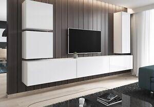 Details zu TV Lowboard hängend Möbel Schrank hängeboard Hochglanz weiß grau