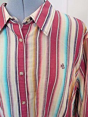 Lauren Ralph Lauren Striped Linen Shirt Buttons Colorful Plus 2X