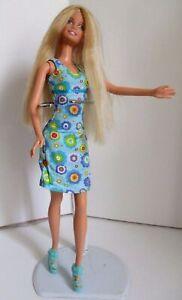 Barbie-doll-Long-Golden-Blonde-Hair-Brand-New-Summer-Dress-amp-Aqua-High-Heels