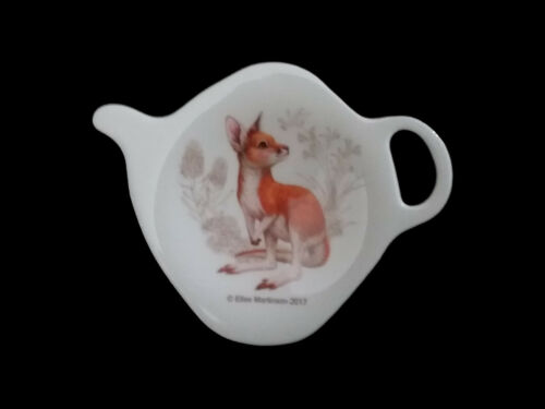 1 x Australian Souvenir Ashdene Australia Tea Bag Holder Spoon Rest Kangaroo