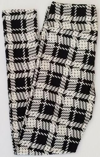 TC LuLaRoe Tall /& Curvy Leggings NEW PRINT Woven Plaid Check Black White NWT 587