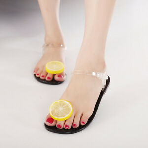 296add57e518ea Image is loading Womens-Lemon-Shoes-Mules-Flats-Buckle-Transparent-Clear-