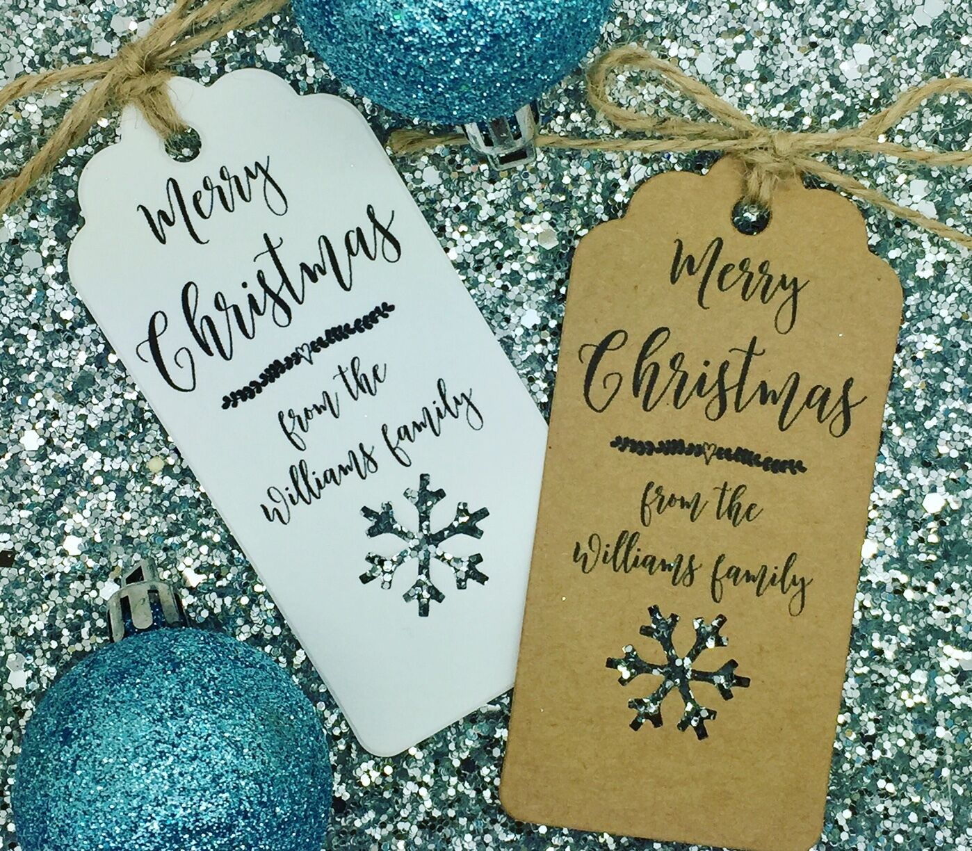 Personalised Christmas Card  Gift Tag, Xmas Party Present, Tree Tie Wrap