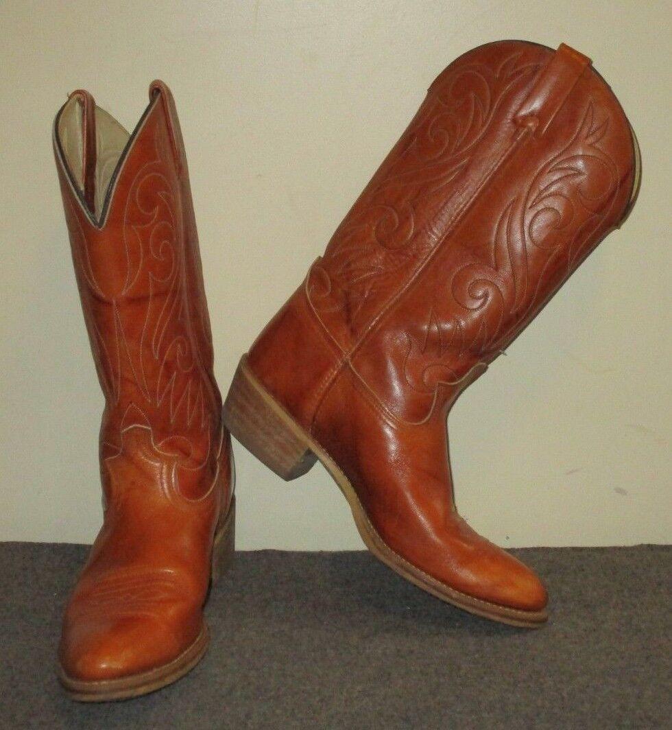 Vintage Dingo Western Cowboy Men Boots Tan Brown Leather Men Cowboy 9.5 68982 7732 68fc22