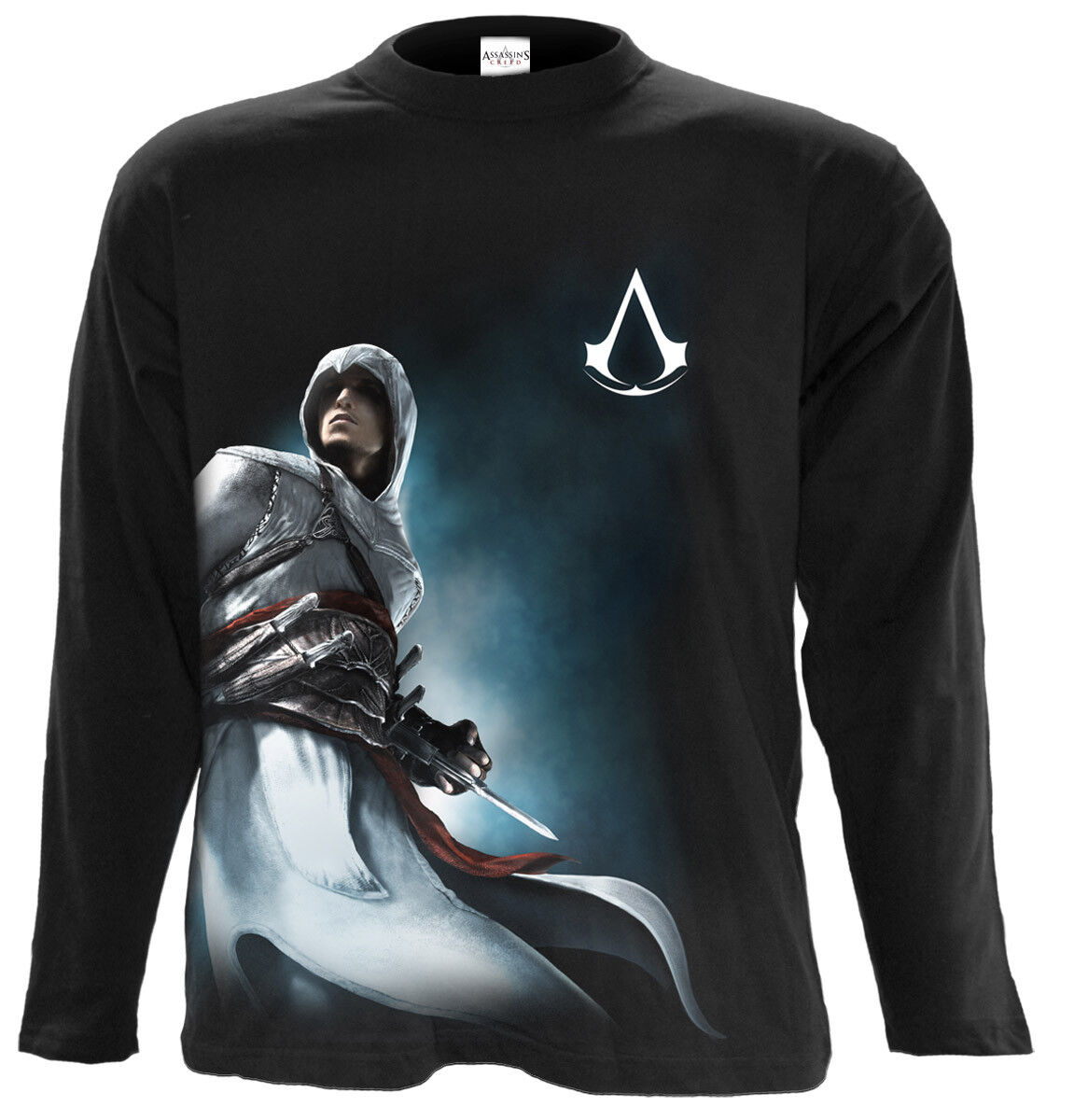 OFFICIAL LICENSED SPIRAL ALTAIR SIDE PRINT- ASSASSINS CREED LONG SLEEVE T-SHIRT