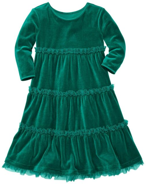 HANNA ANDERSSON Velour Tutu Tiered Love Twirl Dress Deep Forest Green 150 12 NWT