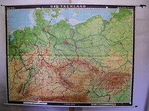 Schulwandkarte Wandkarte map Karte Deutschland Germany 1937 BRD DDR ...