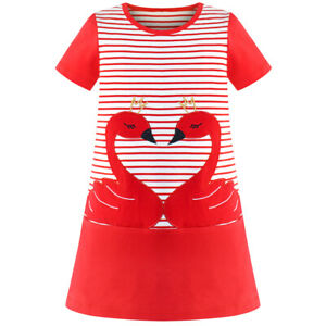 Sunny Fashion Girls Casual Dress Cotton Short Sleeve Swan Embroidered Size 2-6